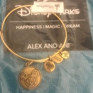 Alex and Ani Filagree Mickey Bangle Antique Gold